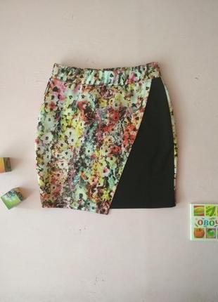 Комбинированная юбка на запах