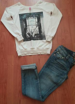 Не дорого ! костюм : свитшот + укороченние джинси америка