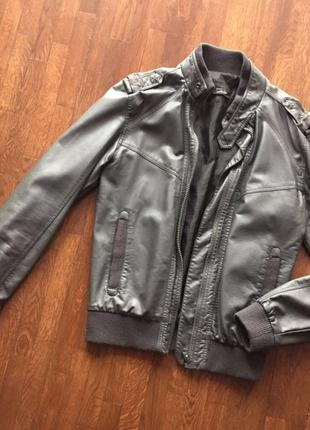 Куртка кожаная косуха серая