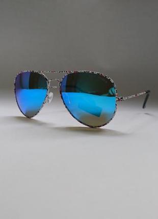 Солнцезащитные очки авиаторы с синими зеркальными линзами