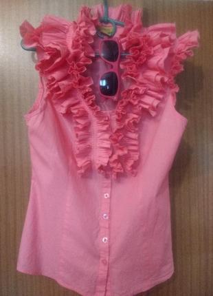 Розовая и легкая, приталенная блузка, m-l1 фото