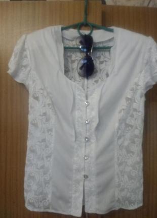 Белая кружевная блузка,тянется l-xl