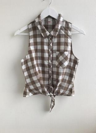 Рубашка в клеточку на завязке спереди от h&m