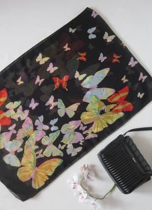 Легкий летний шифоновый шарф paolo truzzi в разноцветные бабочки