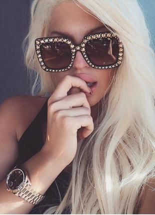 Женские очки квадратные оверсайз оправа в камнях хит 2018