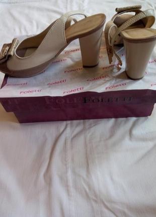 Распродажа!скидка!кожаные босоножки бежевого цвета 37р. (24см)от бренда foletti