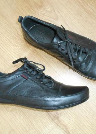 Туфли спортивные мужские кожа черный
