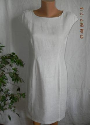Белое платье лен f&f