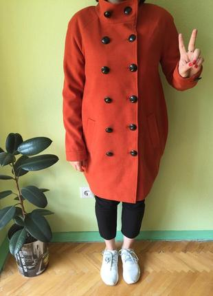 Пальто яркое размер м-л оранжевое пальто шерстяное пальто кокон