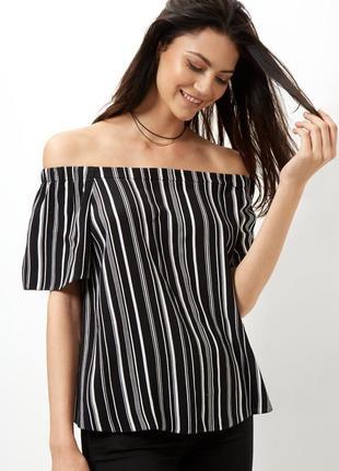 New look полосатая блуза с открытыми плечами