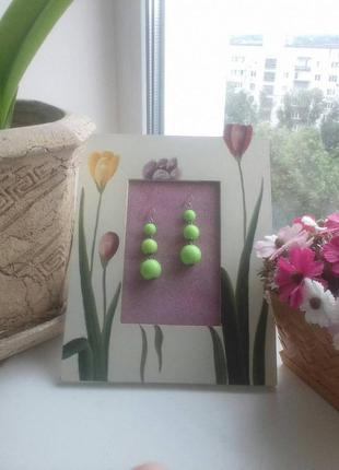 Серьги, кислотно-зеленые ягодки