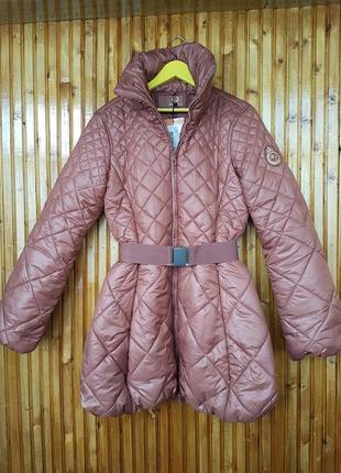 Куртка madoc шоколадного цвета с поясом. тёплая деми куртка, пальто медок.