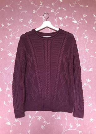 Бордовый свитер pull&bear