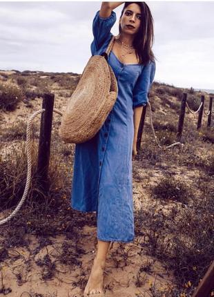 Длинное платье на пуговицах от zara