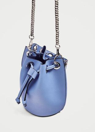 Новая голубая сумка мешок zara на цепочке/ тренд/ испания