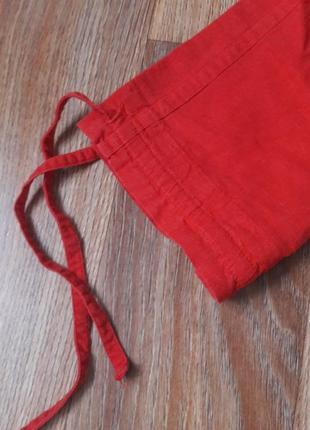 Красные бриджи из льна (легкие бриджи на лето)2 фото