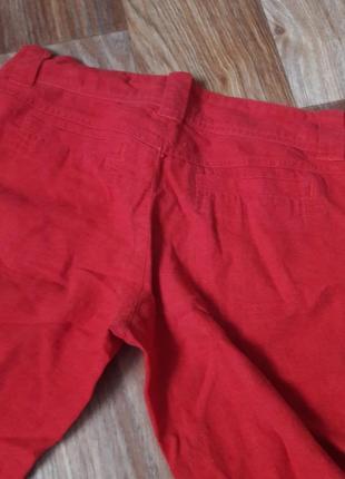 Красные бриджи из льна (легкие бриджи на лето)4 фото