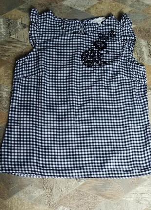 Блуза клетка  с вышивкой f&f