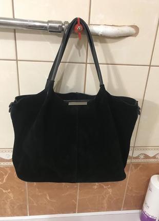 Кожаная сумка замшевая сумка чёрная