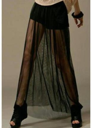 Прозрачная юбочка в пол с шортами от river island