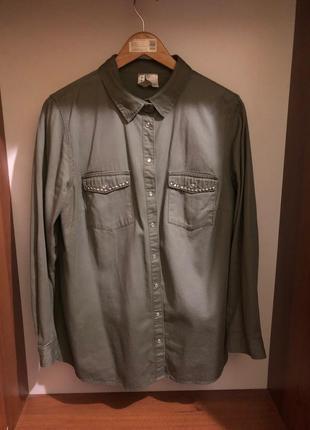Джинсовая рубашка с ефектом омбре