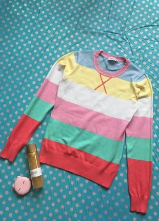 Полосатый свитер джемпер пастельных цветов