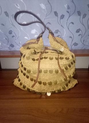 Плетеная вместительная сумка-мешок