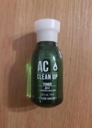 Тонер для проблемной кожи etude house ac clean up toner 15 ml