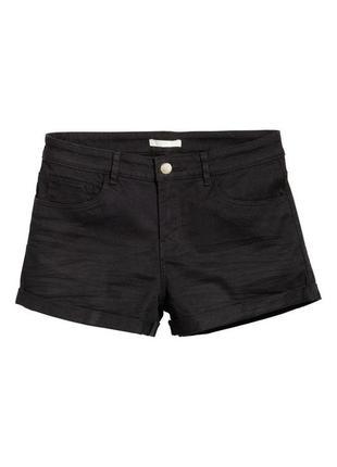 Черные джинсовые шорты h&m с отворотами р с-м с завышенной талией