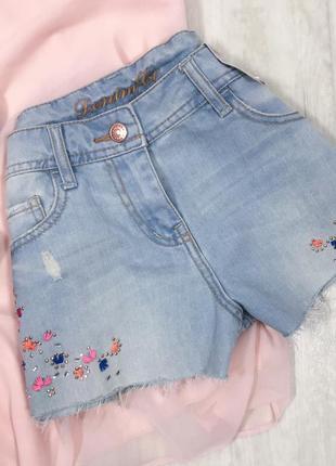 Шорты джинсовые вышивка узор