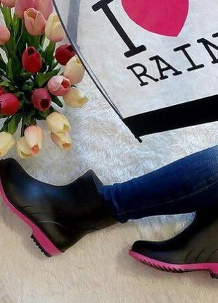 Чёрные резиновые полусапожки ботиночки р.40-41
