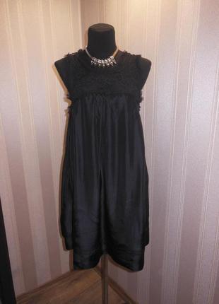 Вечернее платье с кружевом 100% шелк
