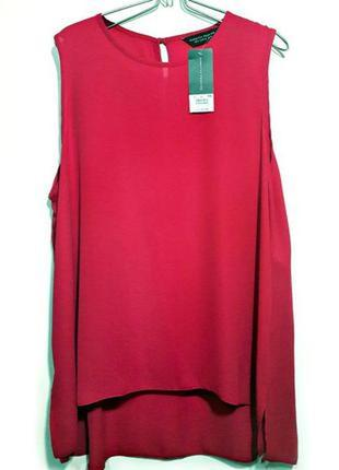 Удлинённая блуза с шнуровкой по бокам сочного малинового цвета