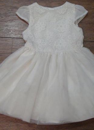 Нежное белое платье young dimension 9-12 мес с фатином и вышитыми цветочками1