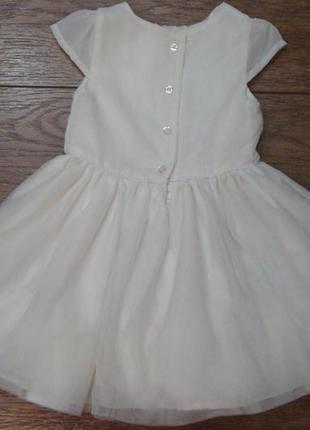 Нежное белое платье young dimension 9-12 мес с фатином и вышитыми цветочками4