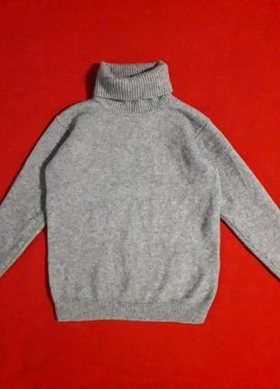 Базовый шерстяной серый гольф/кофта/свитер 100% pure new wool