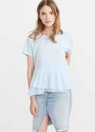 Голубая футболка abercrombie & fitch