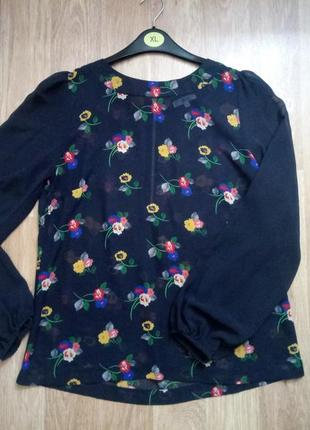 L/40 блуза легкая шифоновая  длинный рукав new look 40