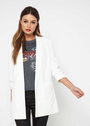 Білий довгий піджак,жакет