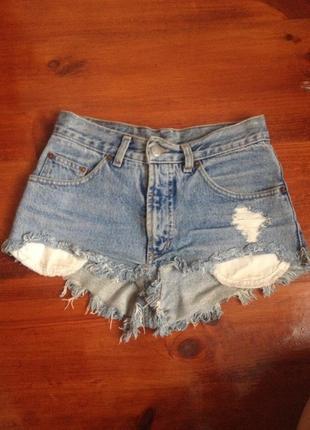 Шорты джинсовые американки высокая посадка с потертостями рваные бойфренд