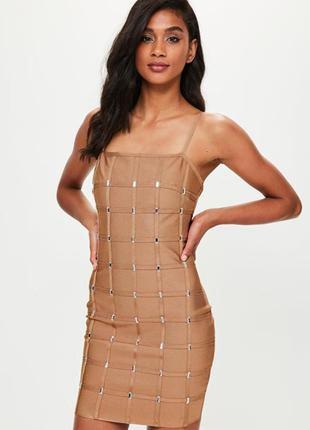 Бандажное платье missguided утяжка нюдовое