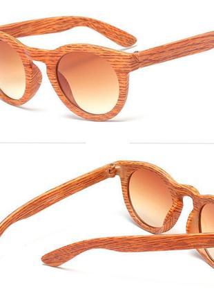 Стильные модные очки под дерево бежевые светло-коричневые