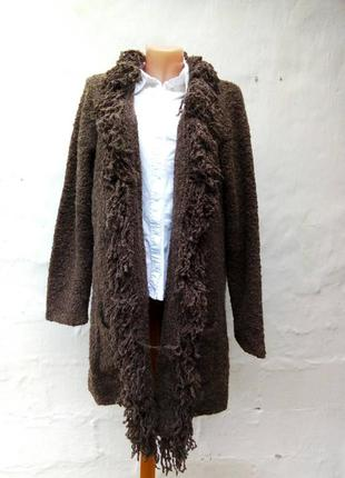 Стильный шерстяной вязаный коричневый кардиган букле на запах,барашек,большой размер.