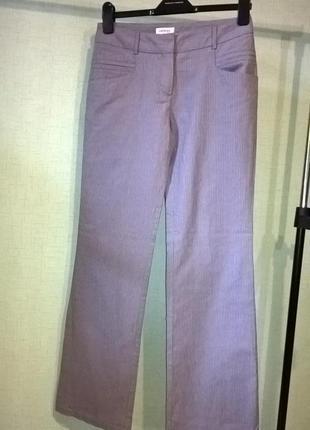 Котоновые серые брюки в полоску офисный стиль повседневные