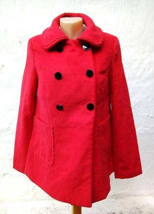 Стильное красное полу-пальто с накладными карманами,валан,классическое,жакет.
