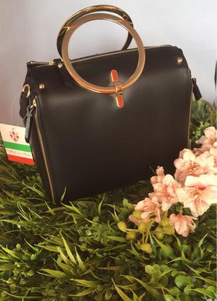 Кожаная сумка с ручками-кольцами. италия