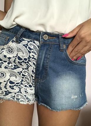 Шорты джинсовые с кружевом, высокая талия