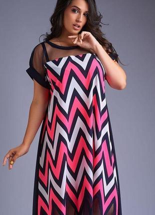 Женское летнее свободное платье макси большой размер 50,52,54,56,58-62