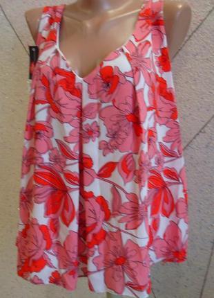 Новая шикарная майка блуза по бирке стоила 960 грн в цветочный принт. размер 14-18