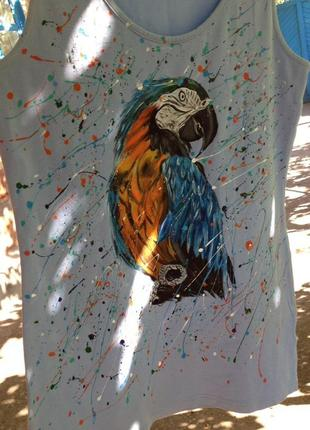 Майка роспись попугай